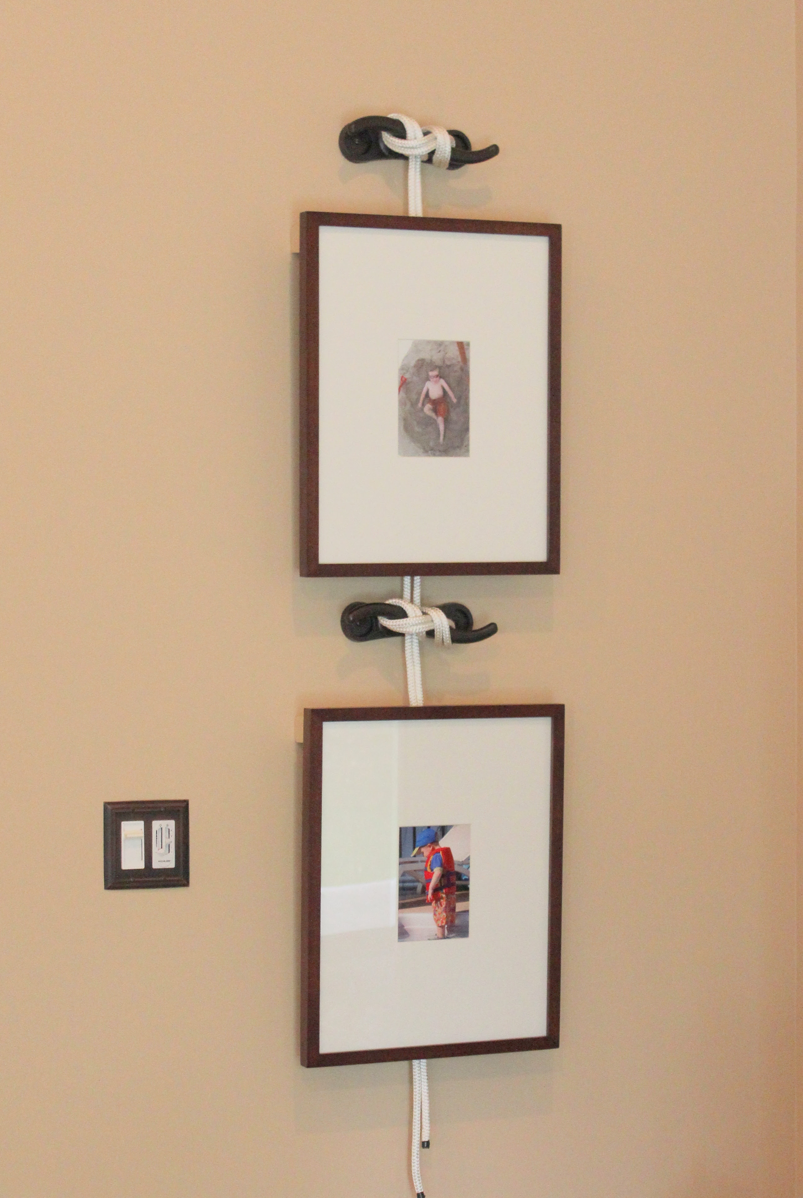 Frames Hung By Ship Cleats Sprayed With Oil Rubbed Bronze Paint To