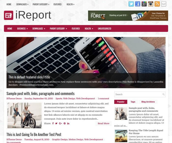 iReport Blogger Template