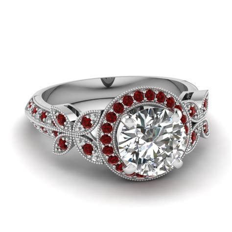 White Gold Round White Diamond Engagement Wedding Ring Red