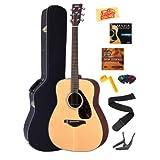 Yamaha FG700S Acoustic Guitar Bundle with Hard Case, Strap, Strings, Stringwinder, Picks, Capo, and Instructional...