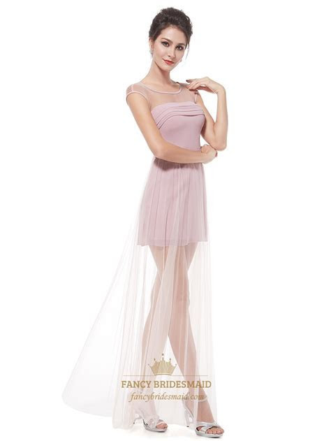 Pink Tulle Cap Sleeves Short Prom Dress With Long Sheer