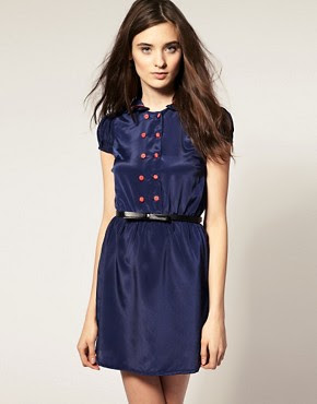 Image 1 of Vero Moda Contrast Piped Frill Collar Dress