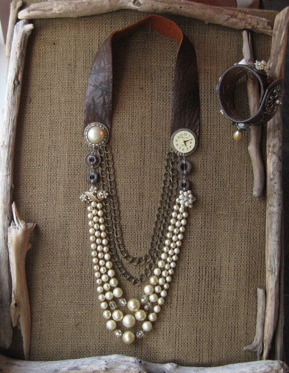 Upcycled Vintage Necklace Faux Pearls