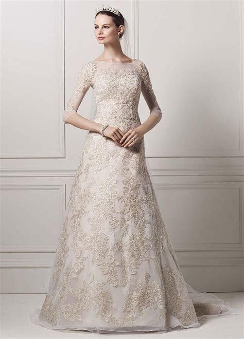 Oleg Cassini 3/4 Illusion Sleeve Lace A line Wedding Dress