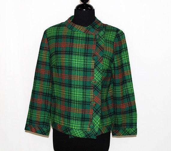 60s Plaid Coat Vintage 1960s Jacket Wool Green MAD MEN
