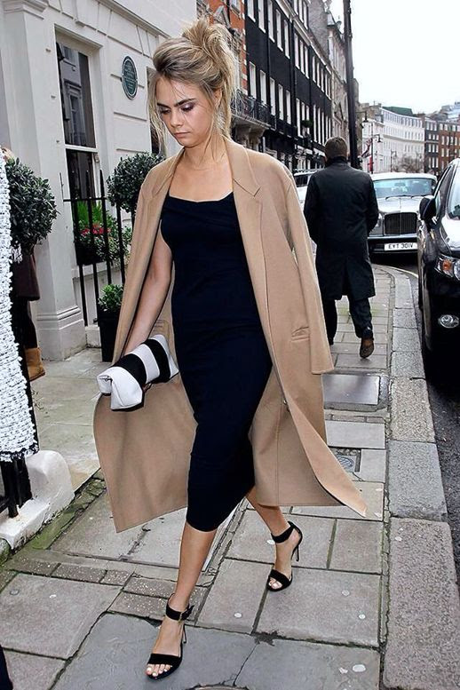 Le Fashion Blog Wedding Look Cara Delevingne Camel And Black Formal Style London Streets Hair Up Do Messy Bun Chignon Beige Tan Long Lapel Coat Simple Calssic Black Midi Mid Length Dress Burberry Stripe Black White Clutch Black Ankle Strap Heels Sandals photo Le-Fashion-Blog-Wedding-Look-Cara-Delevingne-Camel-And-Black-Formal-Style-London-Street-2.jpg