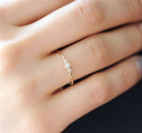 Simple Gold Diamond Ring, Three Stone Ring In 14k Solid