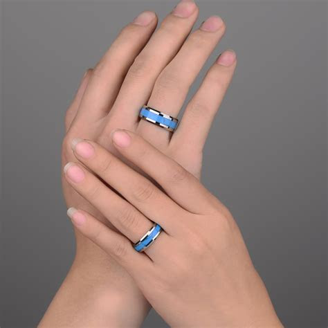 Turquoise Inlay Tungsten Wedding Band, Unique Natural