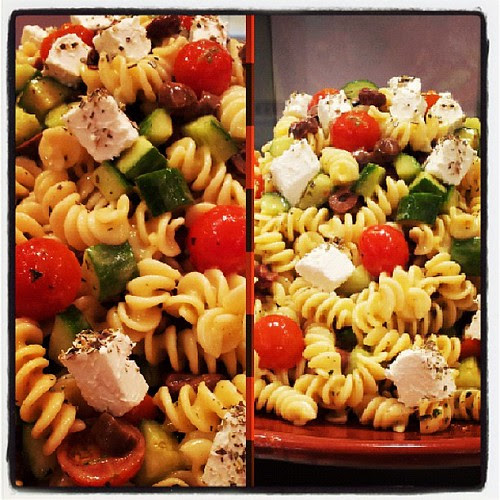 Feta and fusilli pasta salad #lunch #goodafternoon #bredzkuwait #kuwait #souksharq