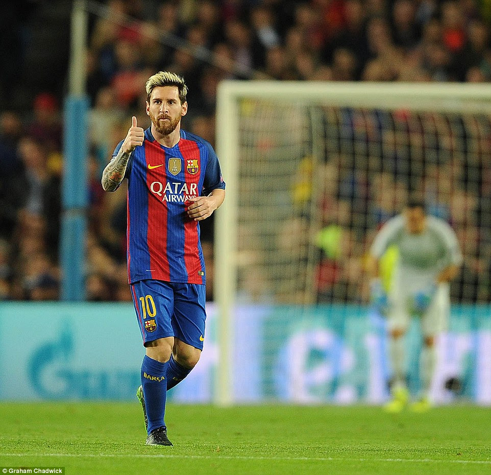 Messi gives a thumbs up to his team-mates as they take the lead in this Group C encounter on Wednesday