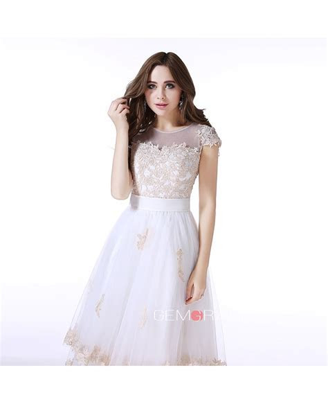 A Line Scoop Neck Tea Length Tulle Prom Dress With
