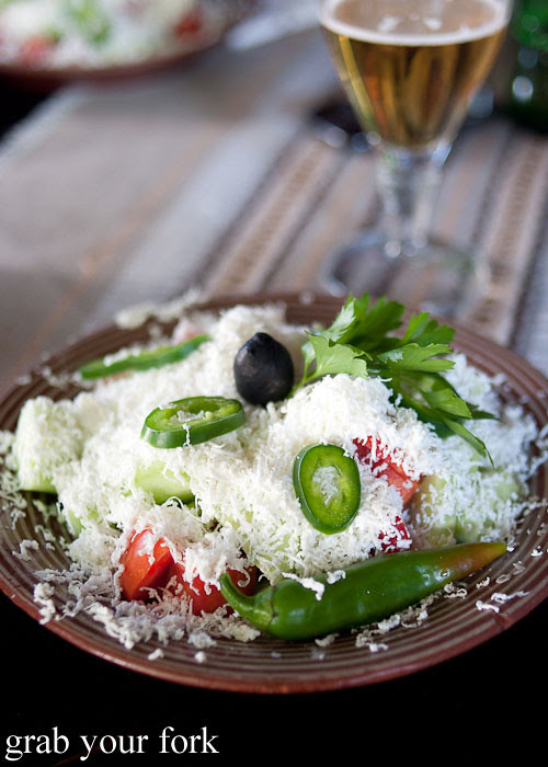 shopska salad sirene white brine cheese in sofia bulgaria