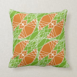 Throw Pillow in Orange and Green