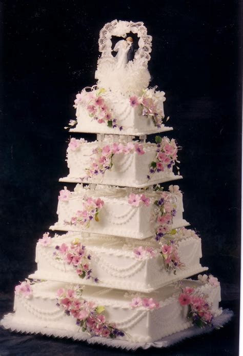 Square five tier fondant custom wedding cake pictures and