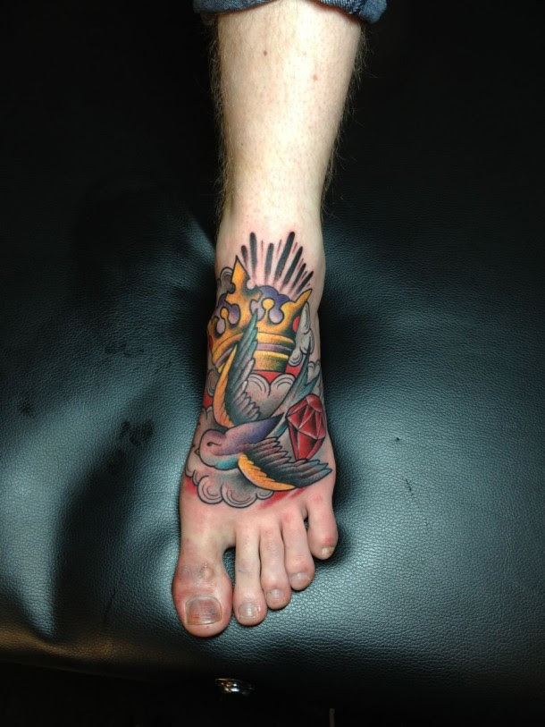 Swallow Crown Diamond Foot Tattoo Luke Wessman Self Made Tattoo