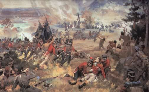Battle of Queenston Heights 1812, when  the British left  the Mohawks to fight invasion of 3,000 Americans.