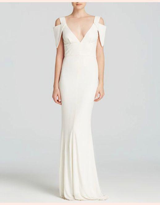 45 Wedding Dresses Under 500 ABS by Allen Schwartz Cold Shoulder Deep V-Neck Jersey Gown Budget Affordable Inexpensive photo 45-Wedding-Dresses-Under-500-ABS-by-Allen-Schwartz-Cold-Shoulder-Deep-V-Neck-Jersey-Gown-Budget-Affordable.jpg
