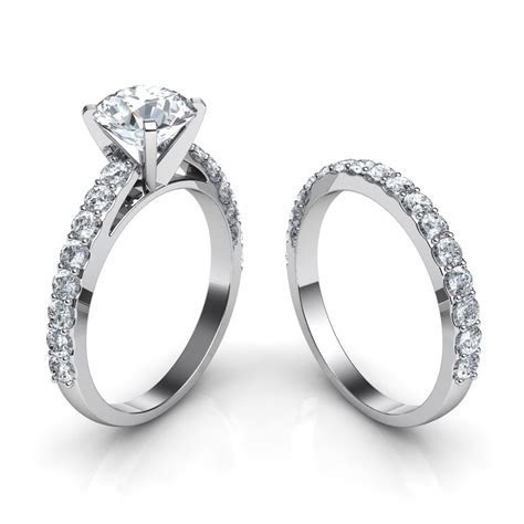 Shared Prong Cathedral Engagement Ring & Wedding Band