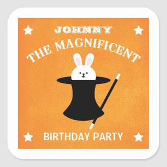 Magician Birthday Party Favor Sticker