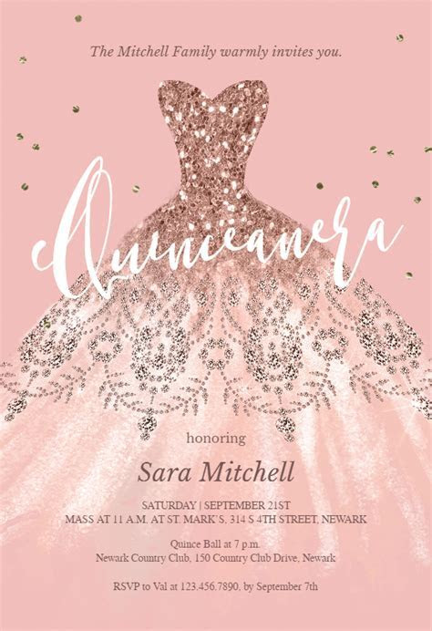 Glitter Dream Dress   Quinceañera Invitation Template
