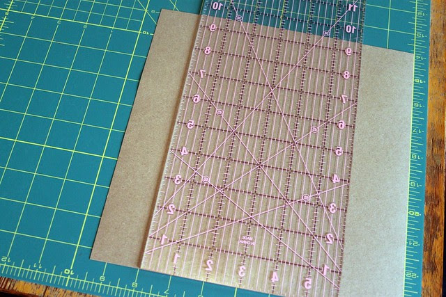 "make a cardstock template measuring a 9.5"" square"