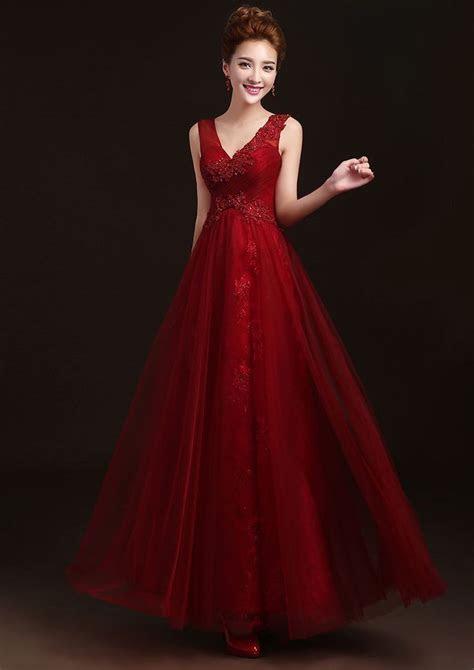 Burgundy Marsala red long beaded bridesmaid dress bridal