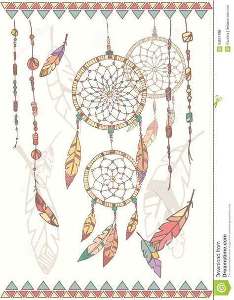Hand Drawn Native American Dream Catcher, Beads And