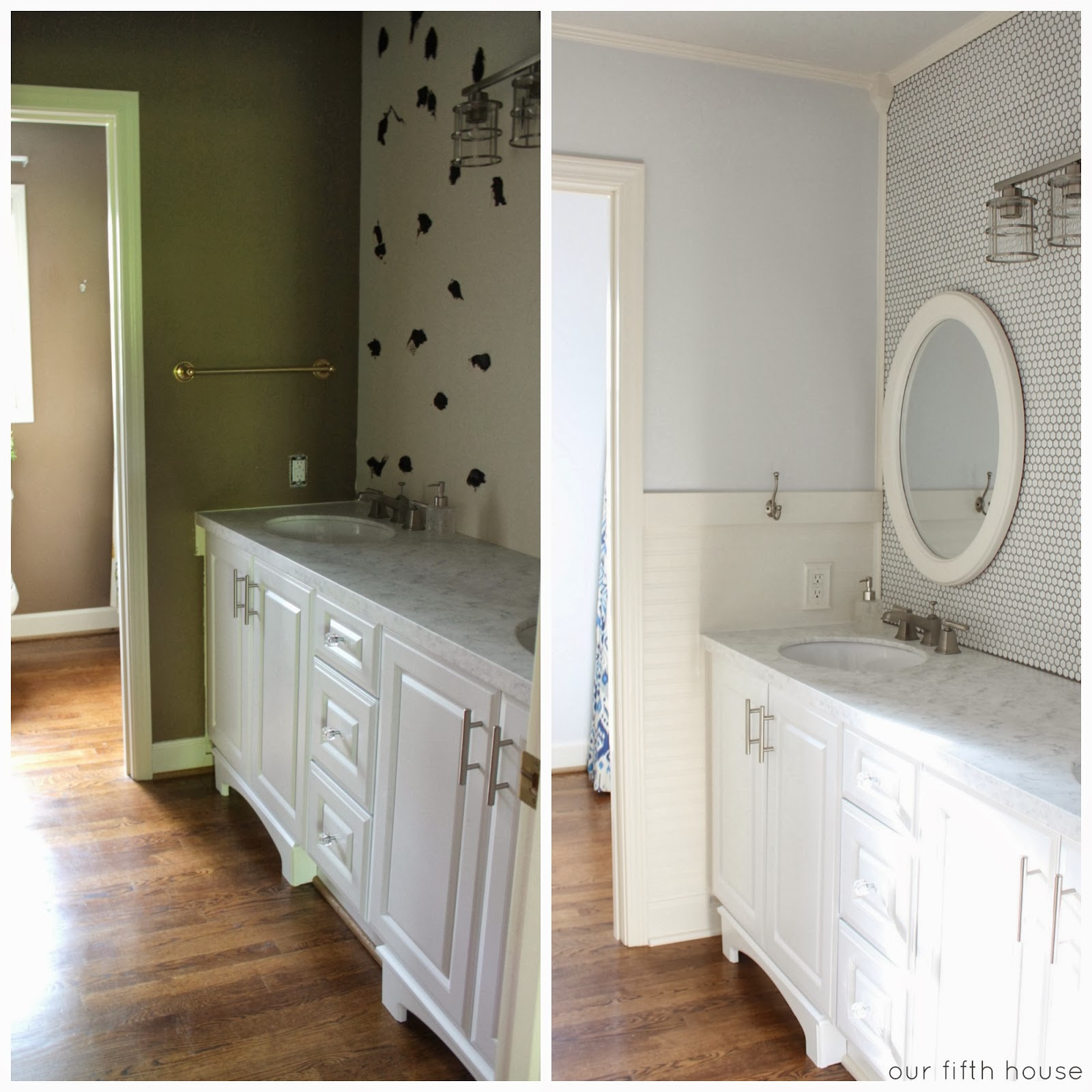 before & after - bathroom tile wall project - Our Fifth House