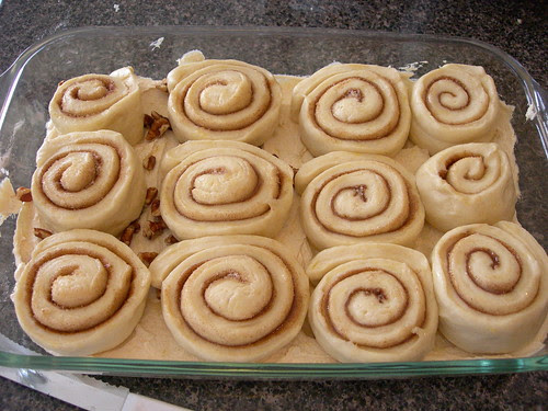 Sticky buns after rising