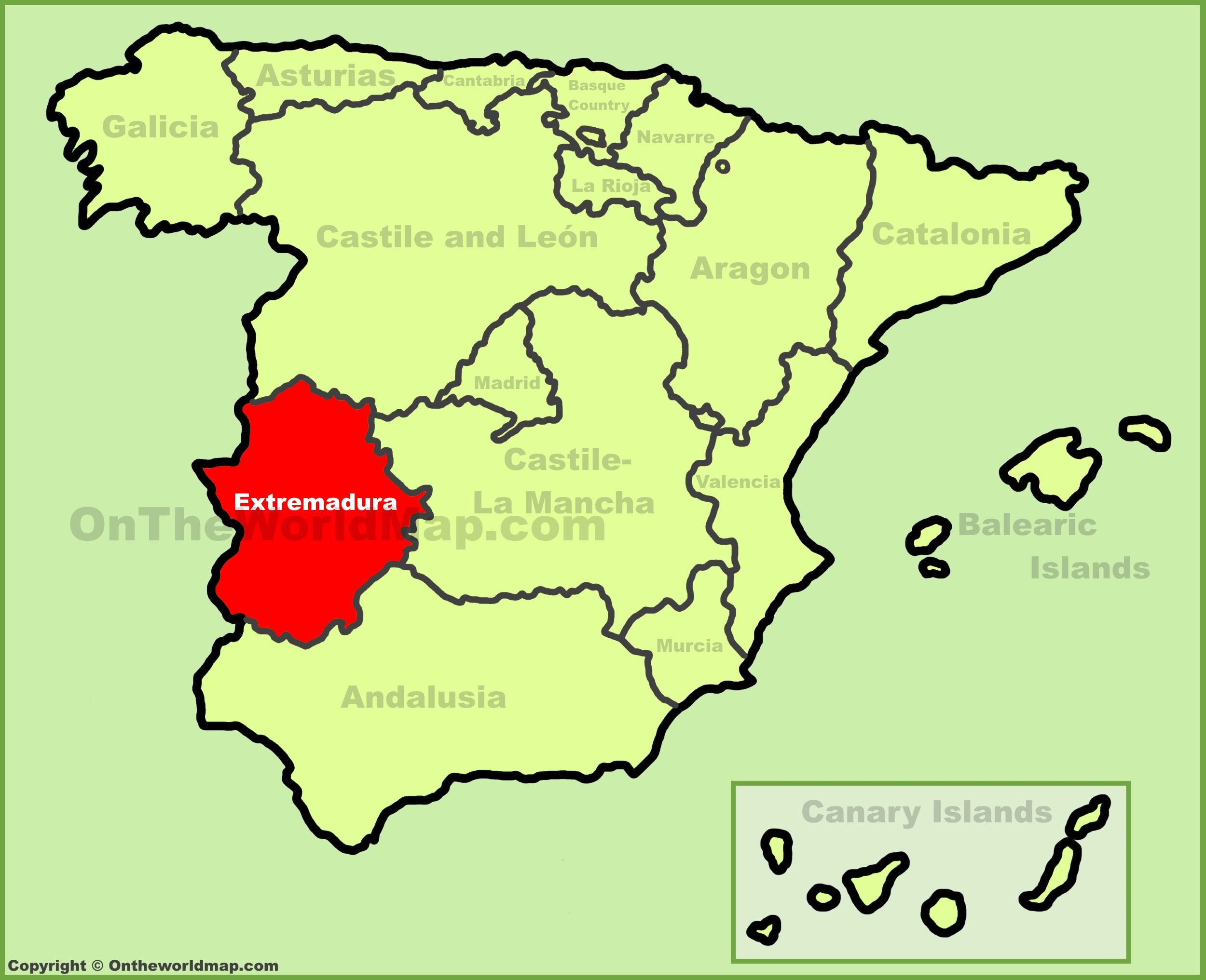 extremadura location on the spain map