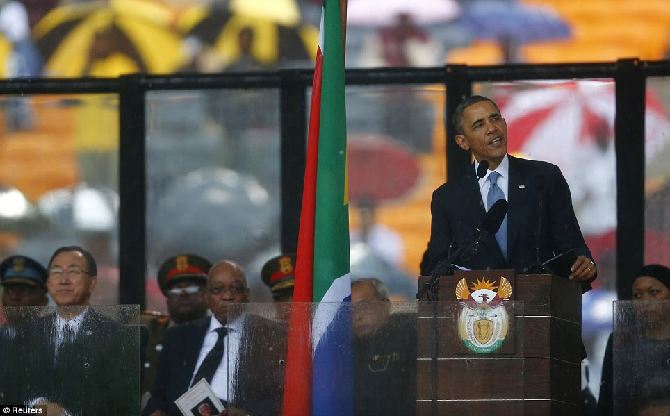 Eulogy: U.S. President Barack Obama delivers his speech at the memorial service for Nelson Mandela at the FNB soccer stadium in Johannesburg