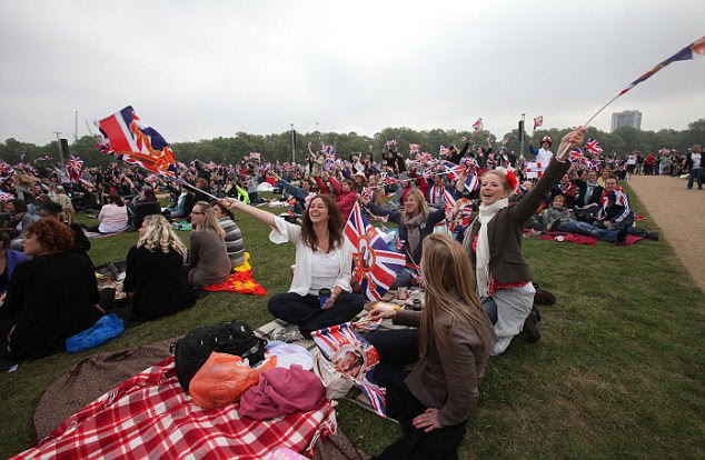 Celebration: Royals fans in Hyde Park watched the wedding on a big screen