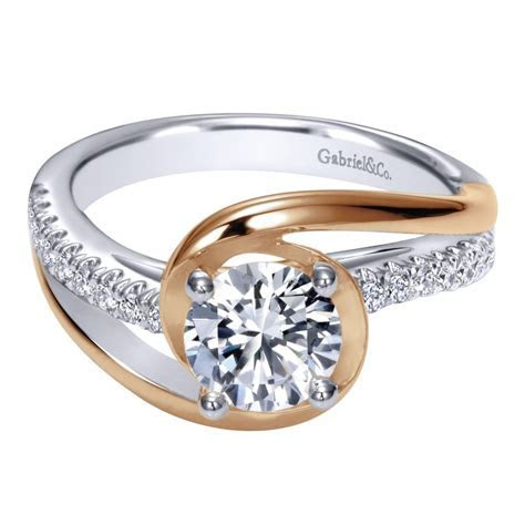 Gabriel & Co. Engagement Rings Two Tone Diamond Bypass 14k
