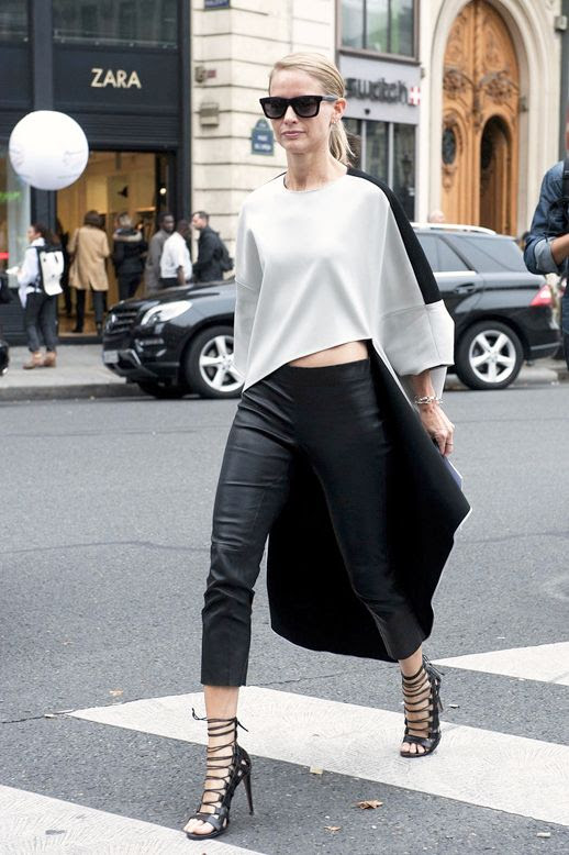 Le Fashion Blog Street Style Asymmetrical Hi Low Crop Top Black Cropped Leather Pants Lace Up Heeled Sandals Via Popsugar