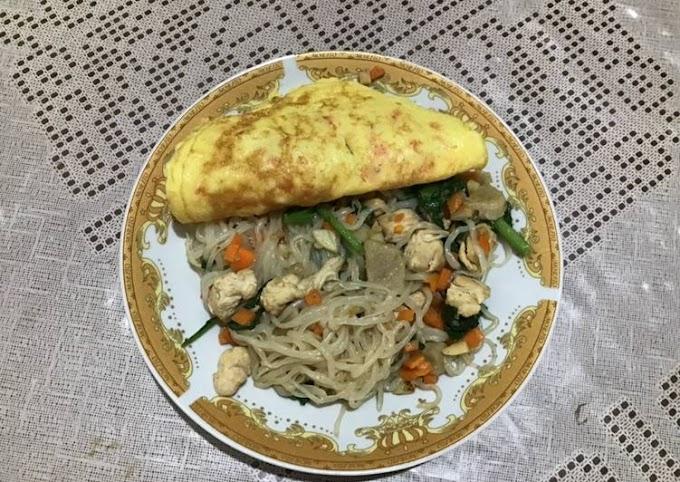 Resep Membuat Mi Shirataki + telur dadar (Diet) Cita Rasa Tinggi
