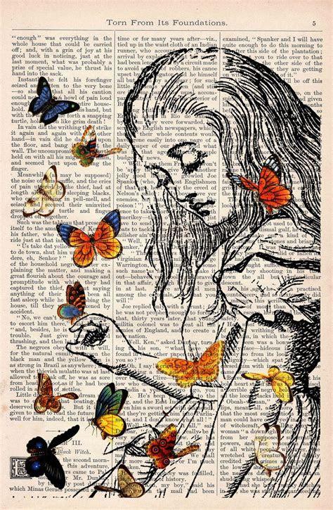 book print alice  wonderland playing  butterflies