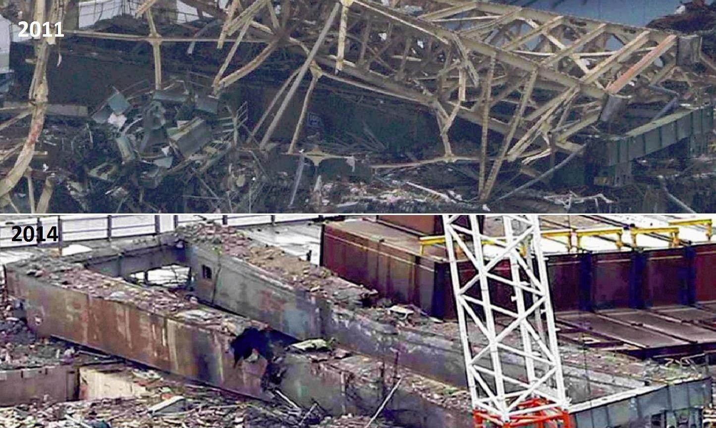 Fig. 77 : Le pont roulant du BR3 en 2011 après l'explosion et en 2014 après déblaiement