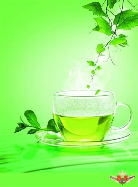 Hd backgrounds psd green aroma tea and leafs