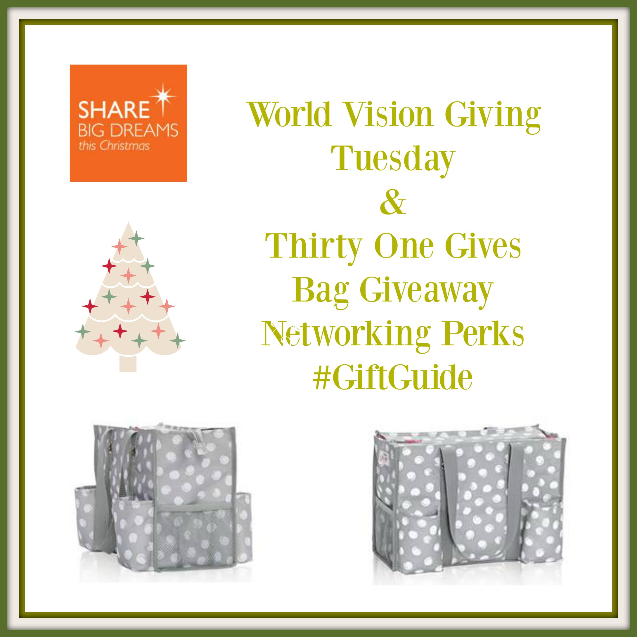 Enter the World Vision & Thirty-One Giving Tuesday Giveaway. Ends 12/10