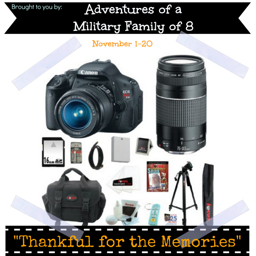 Thankful for the Memories Giveaway: Canon EOS Rebel T3i kit ARV $700+. Ends 11/25.