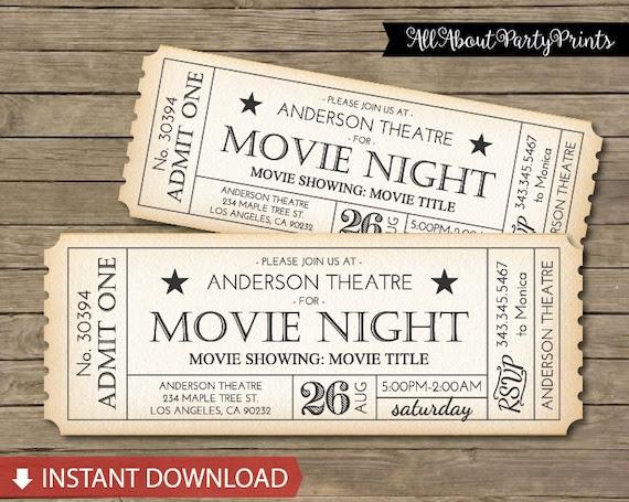 Instant Download- Movie Ticket Printable -Movie Marathon -8x3 ...