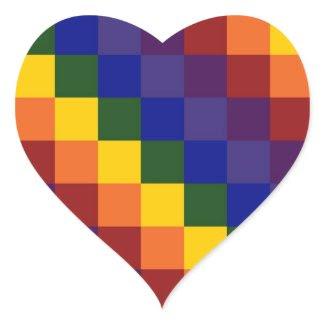 Checkered Rainbow Heart Sticker