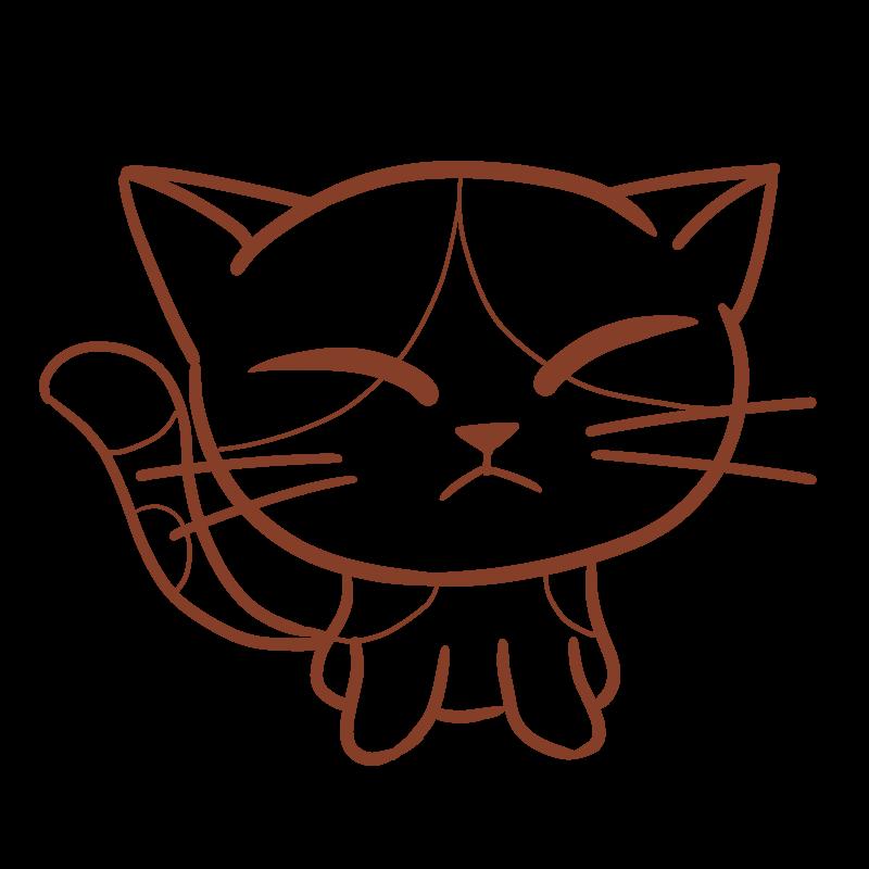 正面を向いた三毛猫のフリーイラスト 線画 Nyan 3