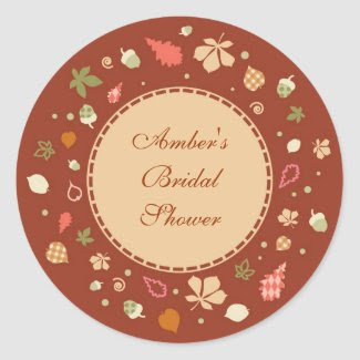 Elegant Round Fall Leaves Favor Sticker