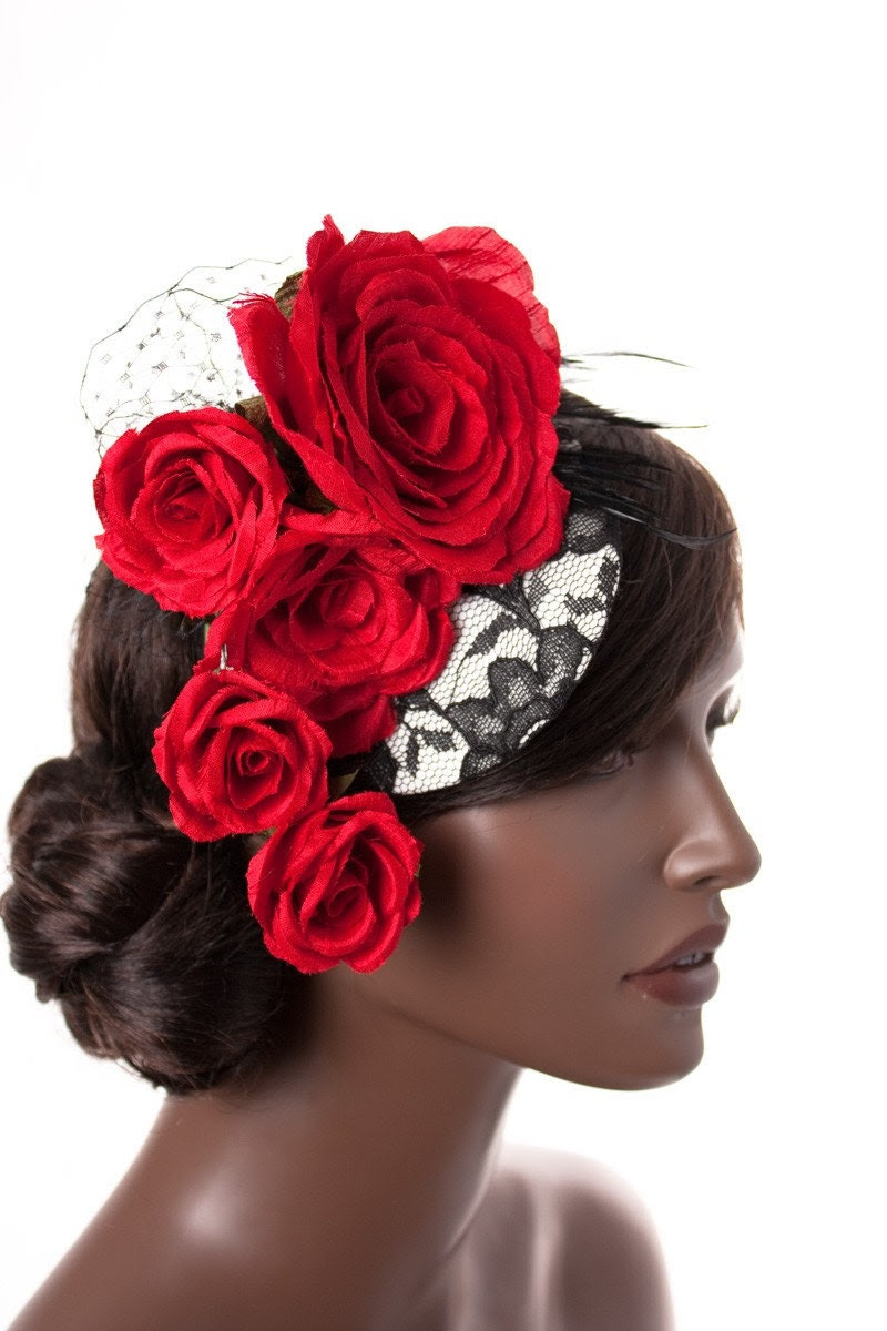 Black and White Lace Mini Hat with Handmade Red Silk Roses