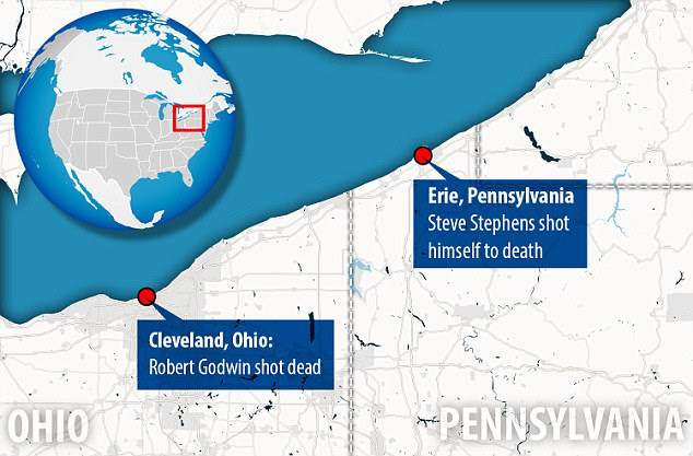 It's about 100 miles between Cleveland, Ohio and Erie, Pennsylvania - where Stephens shot Godwin and then killed himself