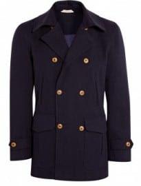 Oliver Spencer Navy Herringbone Wool Clerkenwell Pea Coat