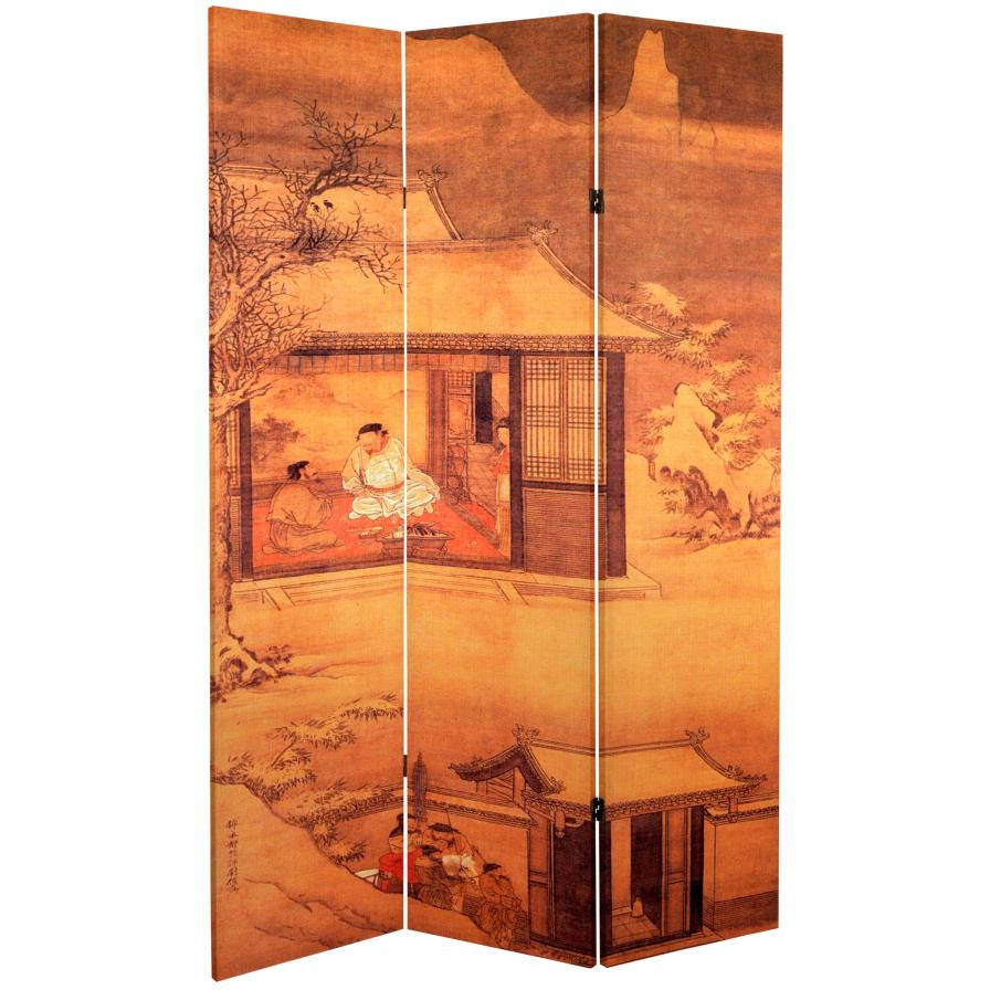 6 Ft Tall Double Sided Chinese Landscapes Canvas Room Divider