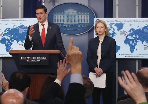 Tom Bossert, White House homeland security adviser, and Jeanette Manfra, chief of cybersecurity for the Department of Homeland Security