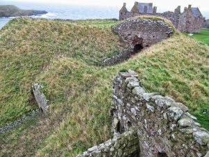 Dunnottar Castle entrance through narrow tunnel